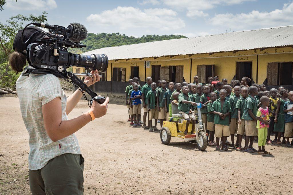 Leanne filming at the school Nick Hewer sponsored in Sierra Leone